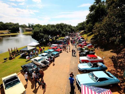 Mirando autos clásicos durante la Natchitoches Car Show